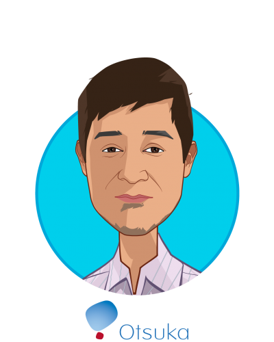 Main caricature of Kabir Nath, who is speaking at HLTH and is President and Chief Executive Officer at Otsuka North America Pharmaceutical Business