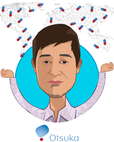 Overlay caricature of Kabir Nath, who is speaking at HLTH and is President and Chief Executive Officer at Otsuka North America Pharmaceutical Business