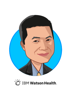 Main caricature of Kyu Rhee, who is speaking at HLTH and is Chief Health Officer at IBM Watson Health