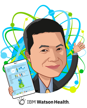 Overlay caricature of Kyu Rhee, who is speaking at HLTH and is Chief Health Officer at IBM Watson Health