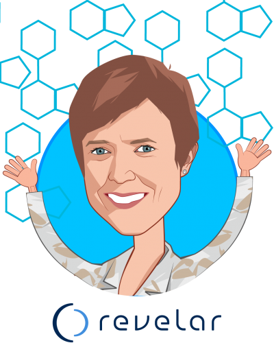 Overlay caricature of Dr. Linda McAllister, who is speaking at HLTH and is Chief Medical Officer at Revelar