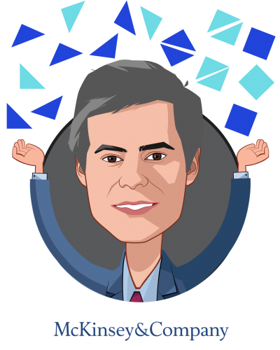 Overlay caricature of Luis Almeida Fernandes, who is speaking at HLTH and is Partner at McKinsey & Co