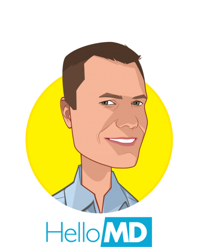 Main caricature of Mark Hadfield, who is speaking at HLTH and is CEO & Founder at HelloMD