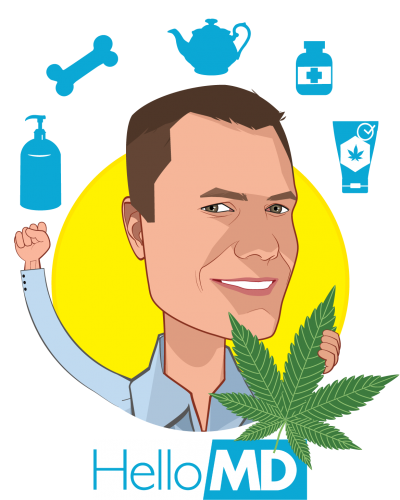 Overlay caricature of Mark Hadfield, who is speaking at HLTH and is CEO & Founder at HelloMD