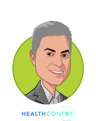 Main caricature of Michael Nochomovitz MD, who is speaking at HLTH and is Inaugural Chief Clinical Integration Officer, New York Presbyterian at Founder, HealthContXt