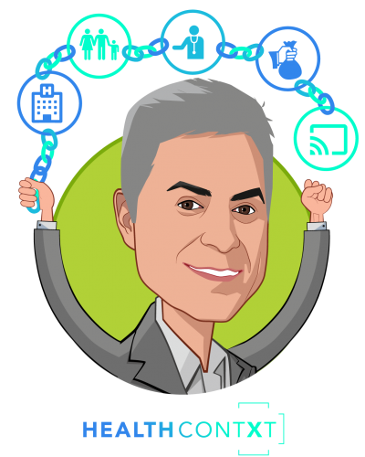 Overlay caricature of Michael Nochomovitz MD, who is speaking at HLTH and is Inaugural Chief Clinical Integration Officer, New York Presbyterian at Founder, HealthContXt