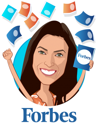 Overlay caricature of Nicole Fisher, who is speaking at HLTH and is Global Health, Technology and Policy Reporter at Forbes