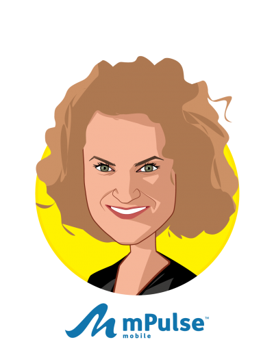 Main caricature of Paige Mantel, who is speaking at HLTH and is Chief Marketing Officer at mPulse Mobile