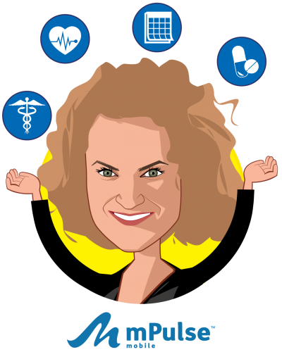 Overlay caricature of Paige Mantel, who is speaking at HLTH and is Chief Marketing Officer at mPulse Mobile