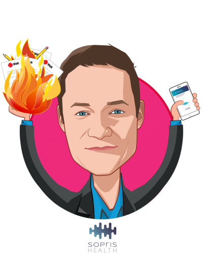 Overlay caricature of Patrick Leonard, who is speaking at HLTH and is CEO, Co-founder at Sopris Health