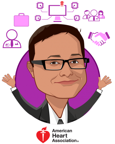 Overlay caricature of Prad Prassoon, who is speaking at HLTH and is Business Strategist, Emerging Technologies and Strategic Partnerships at American Heart Association