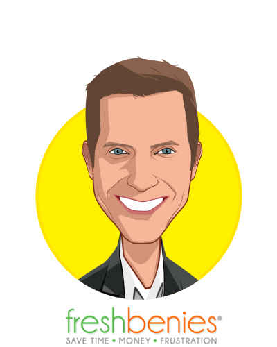 Main caricature of Reid Rasmussen, who is speaking at HLTH and is Co-founder/CEO at freshbenies
