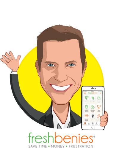 Overlay caricature of Reid Rasmussen, who is speaking at HLTH and is Co-founder/CEO at freshbenies