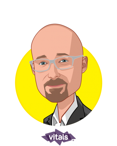 Main caricature of Rob Graybill, who is speaking at HLTH and is VP, SmartShopper Market Strategy at Vitals