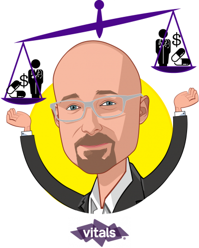 Overlay caricature of Rob Graybill, who is speaking at HLTH and is VP, SmartShopper Market Strategy at Vitals
