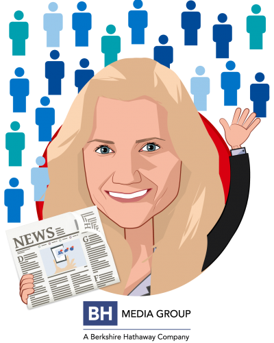 Overlay caricature of Roshelle Campbell, who is speaking at HLTH and is VP of HR at BH Media Group, Inc