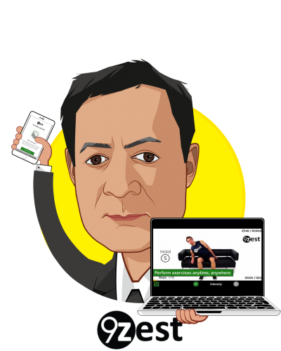 Overlay caricature of Sam Majmundar, who is speaking at HLTH and is Chief, Business Development at 9zest, Inc.