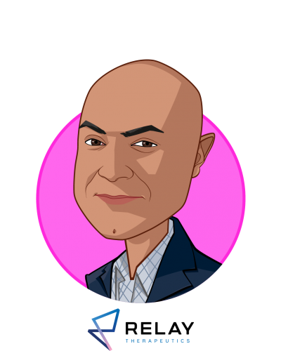 Main caricature of Sanjiv K. Patel, who is speaking at HLTH and is President & CEO at Relay Therapeutics