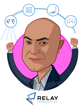 Overlay caricature of Sanjiv K. Patel, who is speaking at HLTH and is President & CEO at Relay Therapeutics