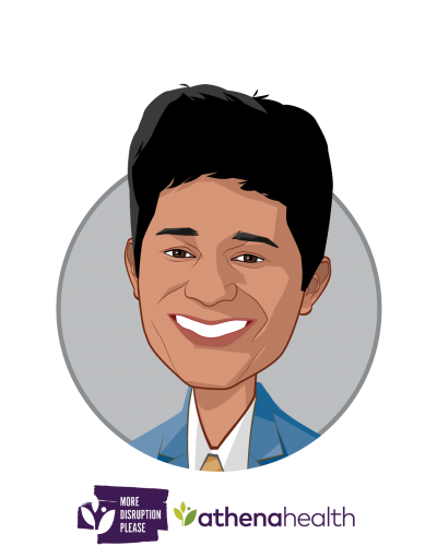 Main caricature of Santosh Mohan, who is speaking at HLTH and is Head, More Disruption Please Labs at athenahealth