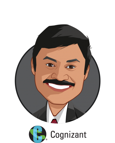Main caricature of Sashi Padarthy, who is speaking at HLTH and is AVP. Cognizant Consulting - Healthcare Practice at Cognizant
