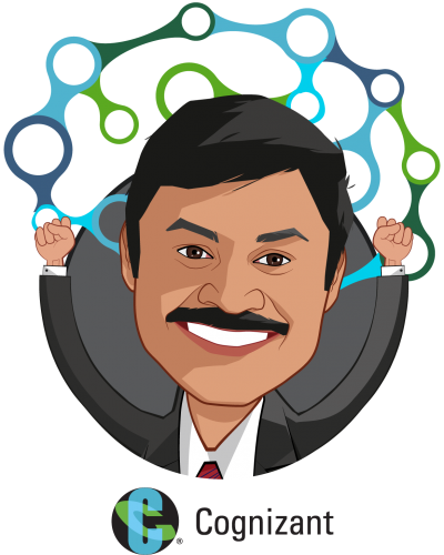 Overlay caricature of Sashi Padarthy, who is speaking at HLTH and is AVP. Cognizant Consulting - Healthcare Practice at Cognizant