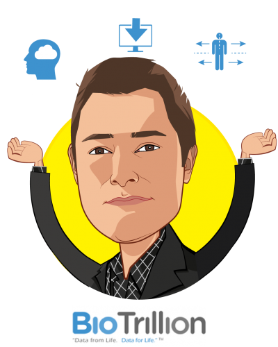 Overlay caricature of Savan Devani, who is speaking at HLTH and is Founder & CEO at BioTrillion, Inc.