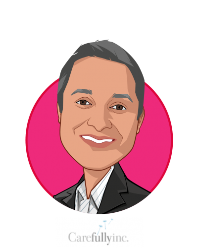 Main caricature of Sumit Nagpal, who is speaking at HLTH and is Chairman and Co-Founder at Carefully, Inc.