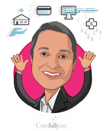 Overlay caricature of Sumit Nagpal, who is speaking at HLTH and is Chairman and Co-Founder at Carefully, Inc.