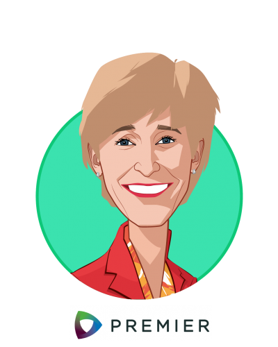 Main caricature of Susan DeVore, who is speaking at HLTH and is President and CEO at Premier Inc