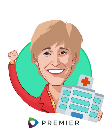 Overlay caricature of Susan DeVore, who is speaking at HLTH and is President and CEO at Premier Inc