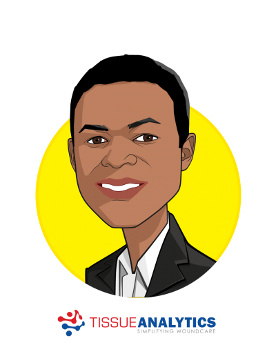 Main caricature of Tobe Madu, who is speaking at HLTH and is Biomedical Engineer at Tissue Analytics