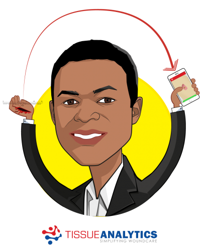 Overlay caricature of Tobe Madu, who is speaking at HLTH and is Biomedical Engineer at Tissue Analytics