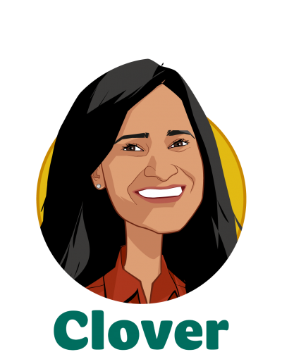 Main caricature of Varsha Rao, who is speaking at HLTH and is Chief Operating Officer at Clover Health