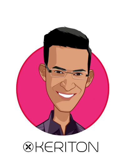Main caricature of Vidur S. Bhatnagar, who is speaking at HLTH and is Founder & CEO at Keriton LLC