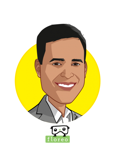 Main caricature of Vijay Ravindran, who is speaking at HLTH and is CEO at Floreo