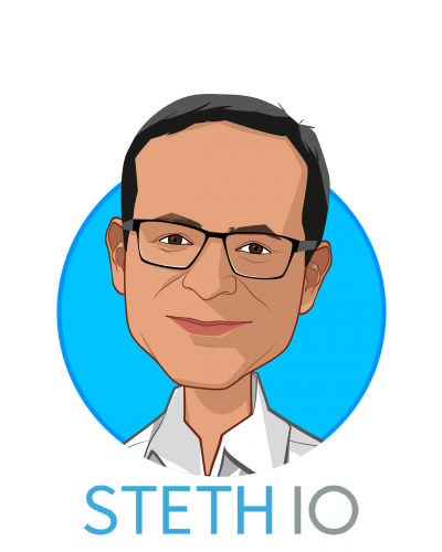 Main caricature of Vikram Chalana, who is speaking at HLTH and is CEO at Steth IO