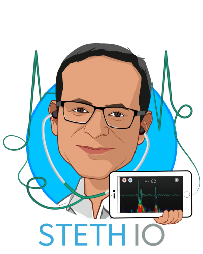 Overlay caricature of Vikram Chalana, who is speaking at HLTH and is CEO at Steth IO