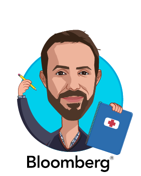 Overlay caricature of Zachary Tracer, who is speaking at HLTH and is Health Care Reporter at Bloomberg News