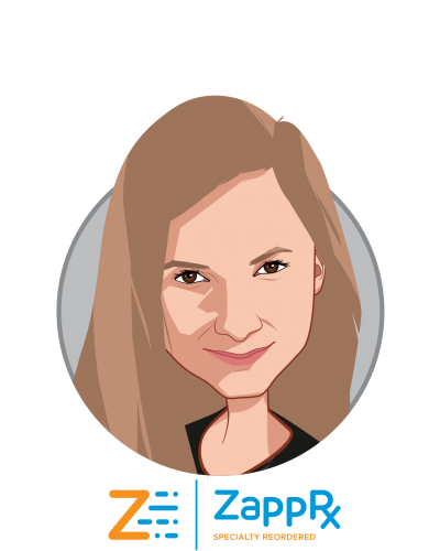 Main caricature of Zoë Barry, who is speaking at HLTH and is Founder & CEO at ZappRx, Inc.
