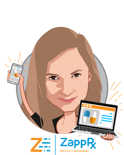 Overlay caricature of Zoë Barry, who is speaking at HLTH and is Founder & CEO at ZappRx, Inc.